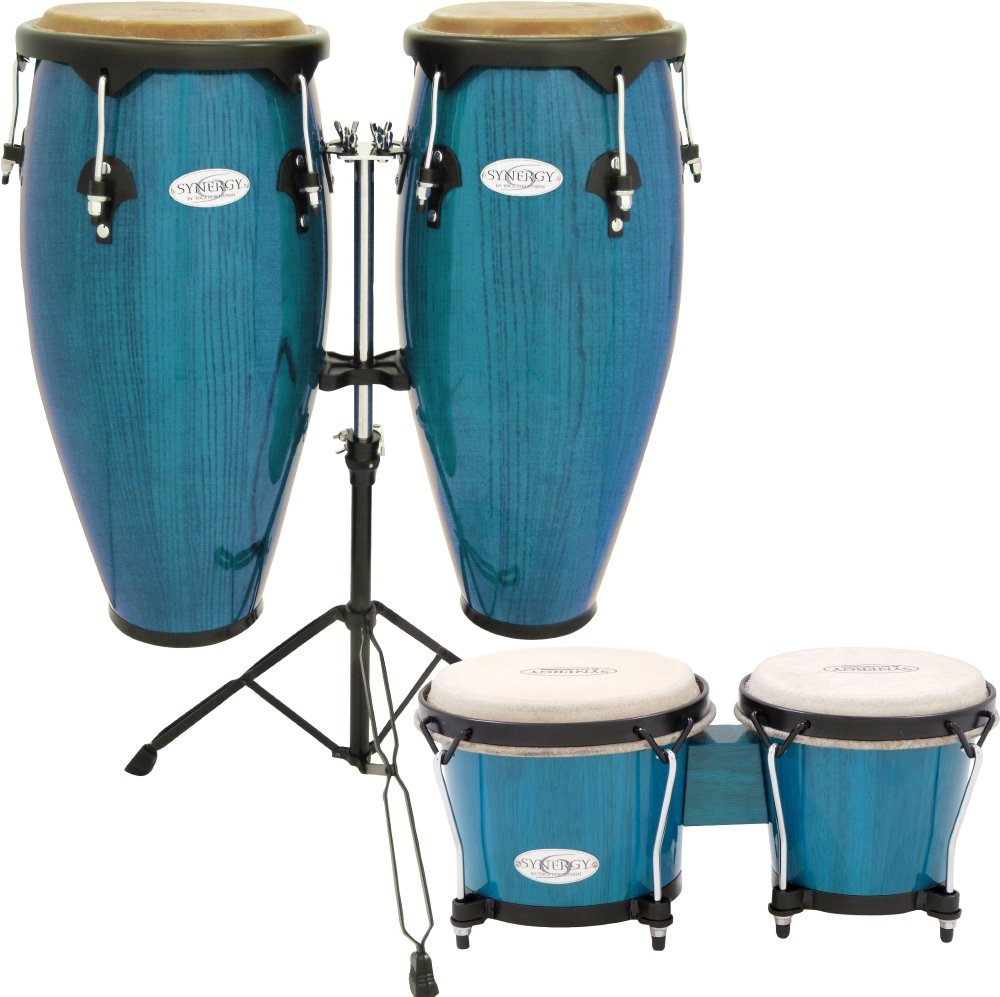 Toca Synergy Conga Set with Stand and Bongos Blue 2300KBB