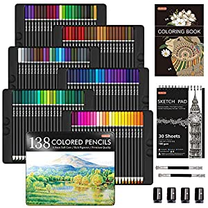 138 Colors Professional Colored Pencils, Shuttle Art Soft Core Coloring Pencils Set with 1 Coloring Book,1 Sketch Pad, 4…