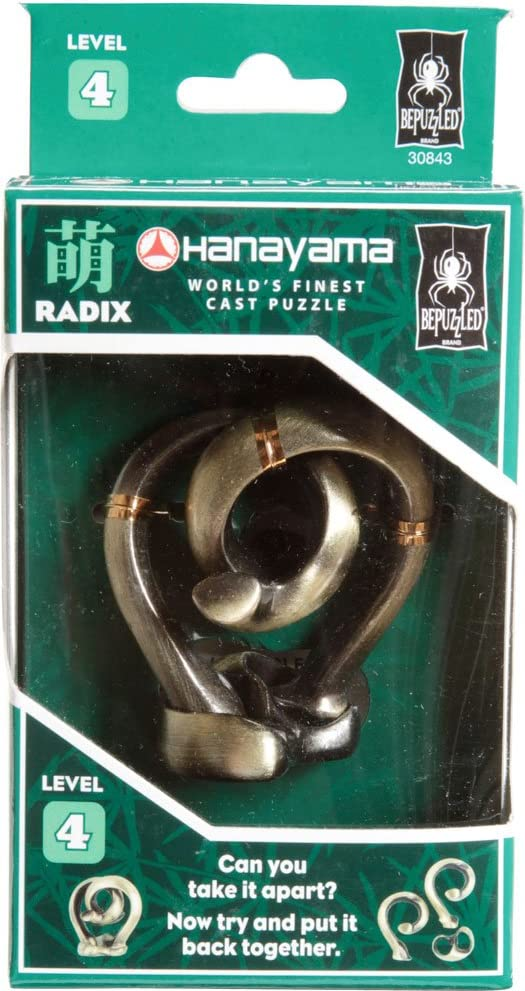 Bepuzzled RADIX Hanayama Cast Metal Brain Teaser Puzzle (Level 4) Puzzles For Kids and Adults Ages 12 and Up