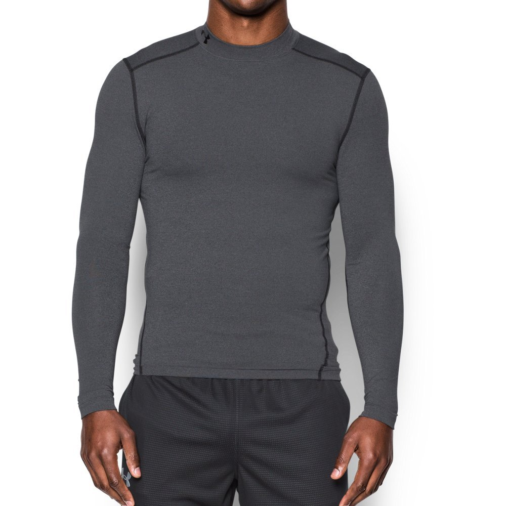 Under Armour Men's ColdGear Armour Compression Mock Long Sleeve Shirt, Carbon Heather/Black, Medium