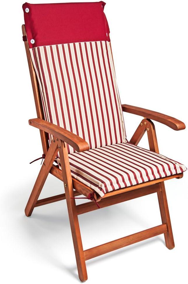 Detex 6X Cojines con repaldo Rojo y Blanco para sillas de jardín Almohadillas Acolchadas para Asiento Repelente al Agua