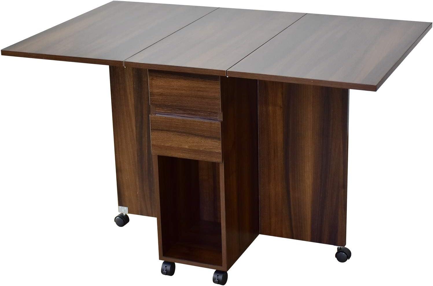 DORIS ダイニングテーブル 折りたたみテーブル キャスター付き 収納 引き出し 可動棚 幅120~37.5 奥行75 ウォルナット パレット