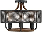 Halvor 16'' Wide 3-Light Black Mesh Ceiling Light