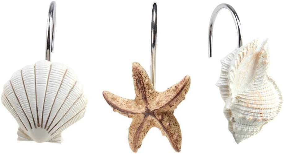 AGPtek 12 PCS Fashion Decorative Home Bathroom Seashell Shower Curtain Hooks (Seashell: Light Brown, Starfish: Tan, Conch: Light Brown): Home & Kitchen