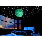 Glow in the Dark Stars w/ Bonus 20cm Full Moon Wall Decal -2017 DESIGN-Set of 230 Stars & Large Moon, Long Lasting, Realistic and Bright Glow: Perfect Gift, Room Decor, Decoration and Wall Sticker