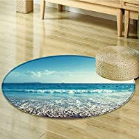Round Rug Kid Carpet Sunset on Seychelles Holiday Shore Dreamy Home Decor Foor Carpe-Round 24