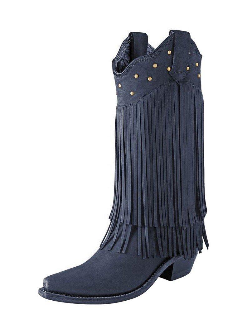 Old West Boots Womens Fringe Boot B01C8HEGZW 6.5 B(M) US|Black Nubuck