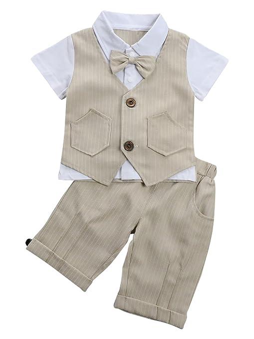 Mainaisi® Conjunto de ropa para bebé, 2 piezas de mangas cortas para chaleco y