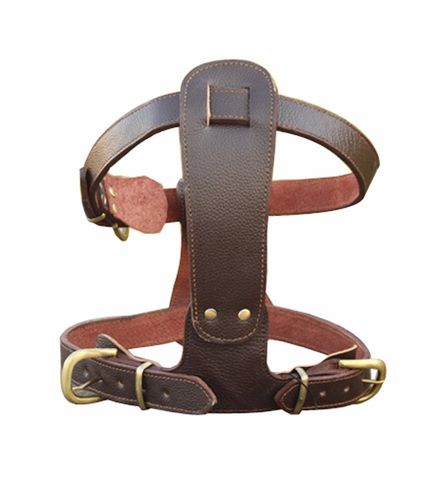 L 1822\ TOPSOSO Genuine Leather Dog Training Harness and Foldable Leash Set for Small Medium and Large Dogs (L 1822 )