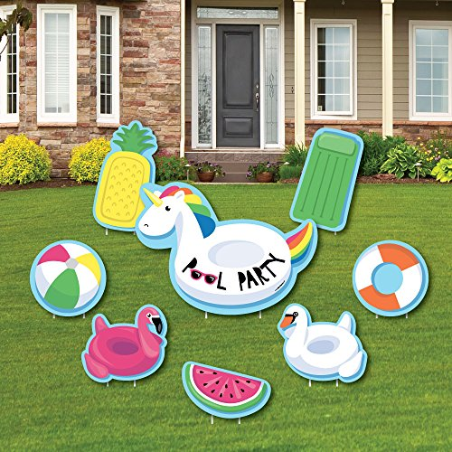 - Make A Splash - Pool Party - Yard Sign & Outdoor Lawn Decorations - Summer Swimming Party or Birthday Party Yard Signs - Set of 8