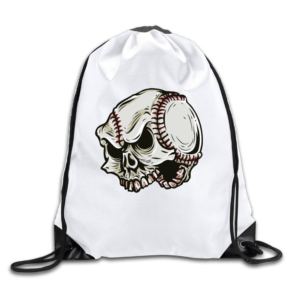 FOODE Skull Baseball Drawstring Backpack Sack Bag