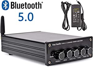 BT30C Bluetooth 5.0 Stereo Amplifier 2.1 Channel Class D Audio Amp with Subwoofer Volume Control 2x50W 1x100W Sub Output Super Bass Power Receiver, Treble Bass Independent Adjustment + Power Supply