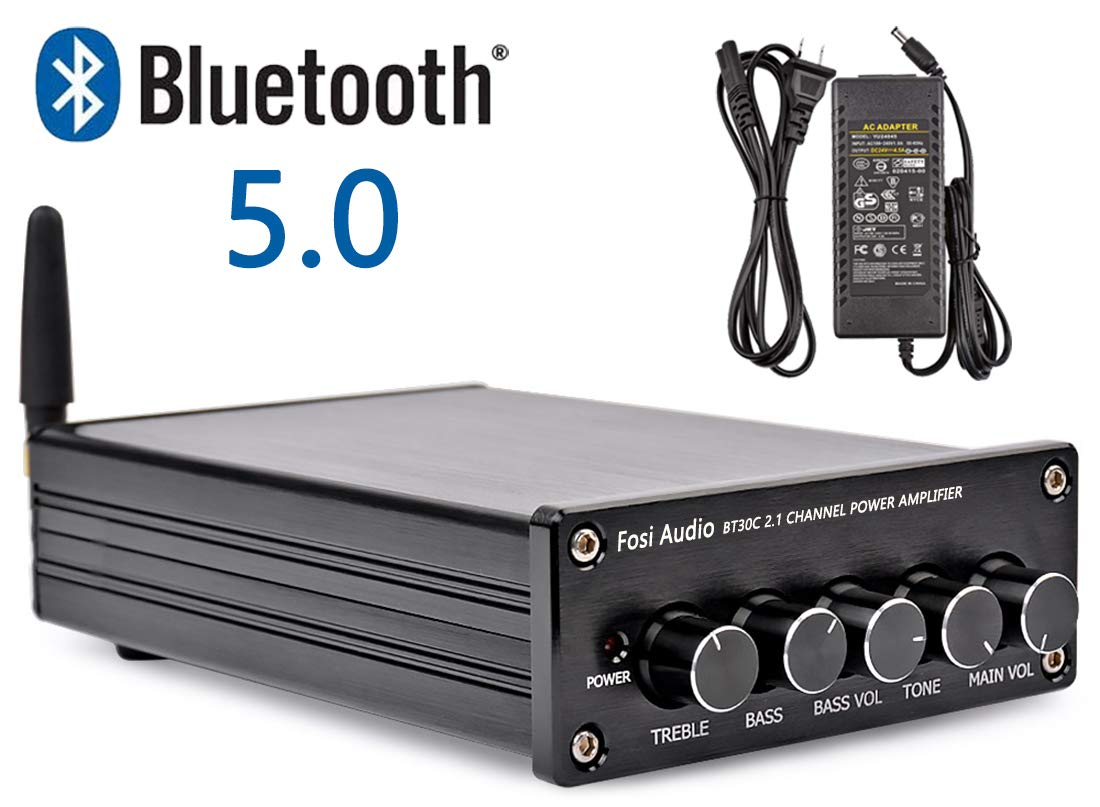 BT30C Bluetooth 5.0 Stereo Amplifier 2.1 Channel Class D Audio Amp with Subwoofer Volume Control 2x50W 1x100W Sub Output Super Bass Power Receiver, Treble Bass Independent Adjustment + Power Supply by Fosi Audio