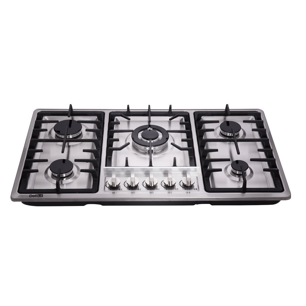 Deli-kit DK258-A01 34 inch Gas Cooktop gas hob stovetop 5 burners LPG/NG Dual Fuel 5 Sealed Burners Stainless Steel 5 Burner Built-In gas hob 110V AC pulse ignition gas stove
