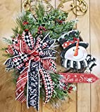 Handmade Let It Snow Grapevine Wreath, Whimsical Snowman Top Hat Triple Bow Swag, Iced Christmas Holiday Winter Berry Snow Door Decor, Harlequin