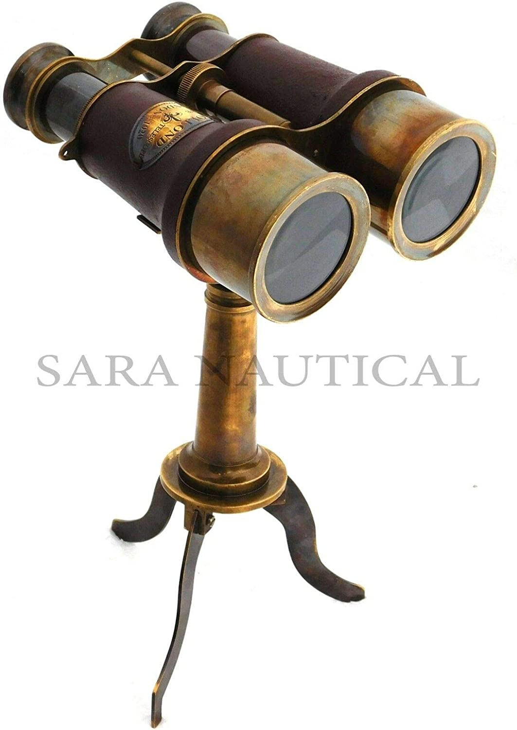 Nautical Brass Binocular Leather Antique Desk Telescope With Table Tripod Stand
