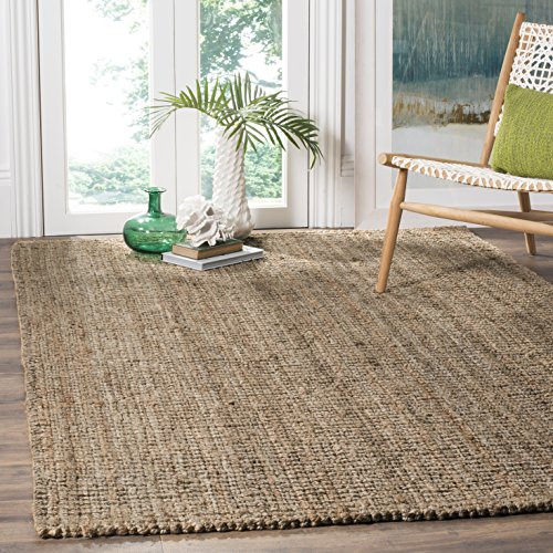 Safavieh Natural Fiber Collection NF447M Hand Woven Natural and Grey Area Rug (8' Square)