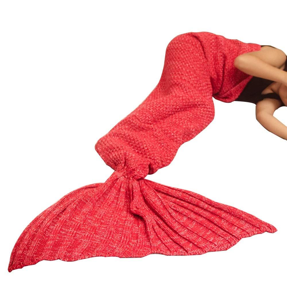 HUIFA Mermaid Tail Blanket Otoño E Invierno Manta De Punto Saco De Dormir para Adultos Sofá Manta 190x90cm 。