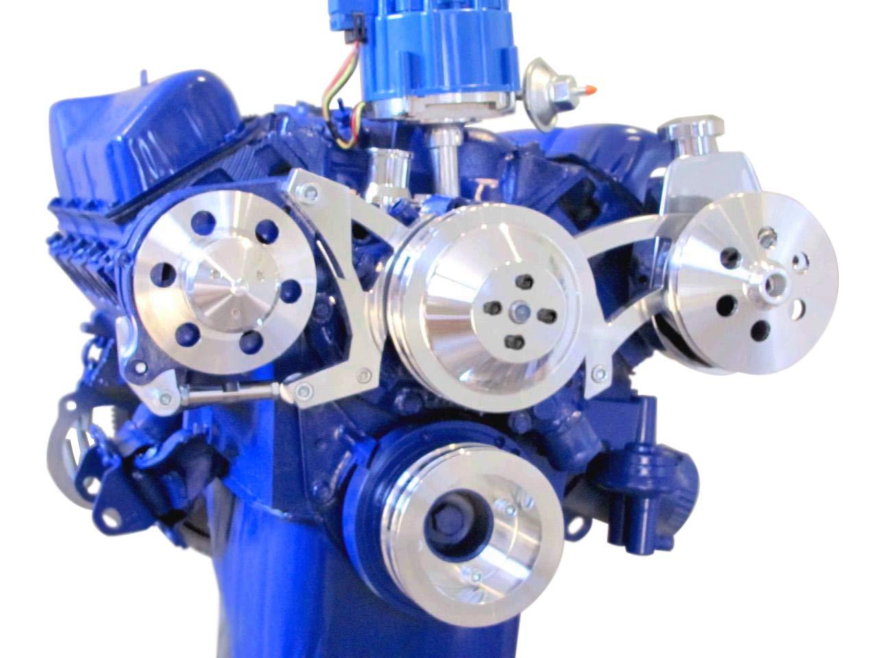 351C 351W BlackPath T6 Billet 400M V-Belt Pulley Kit Ford Engines 302 Polished