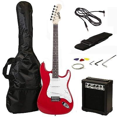 RockJam 6 ST Style Electric Guitar Super Pack with Amp, Gig Bag, Strings, Strap, Picks, Red (RJEG02-SK-RD): Musical Instruments