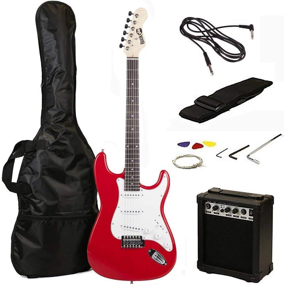 Tamaño RockJam eléctrica llena Superkit guitarra con amplificador de guitarra, secuencias de la guitarra, correa de la guitarra, guitarra bolsa y cable de la guitarra - Rojo