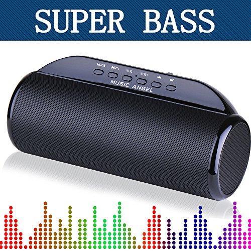 MUSIC ANGEL ® Tragbere Kabellose Lautsprecher mit Bluetooth 4.0 und TF Karte Funktion 12 Uhren Laufzeit Membran-Dual-Lautsprecher