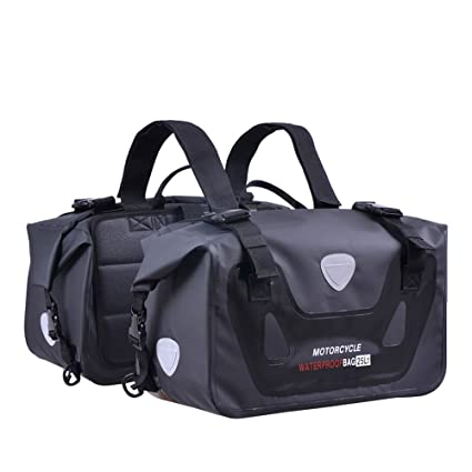 e934cf2078 Fhgj Saddle Bags Expandable Throw Over Panniers Saddlebag Motorcycle Travel  Luggage,Black