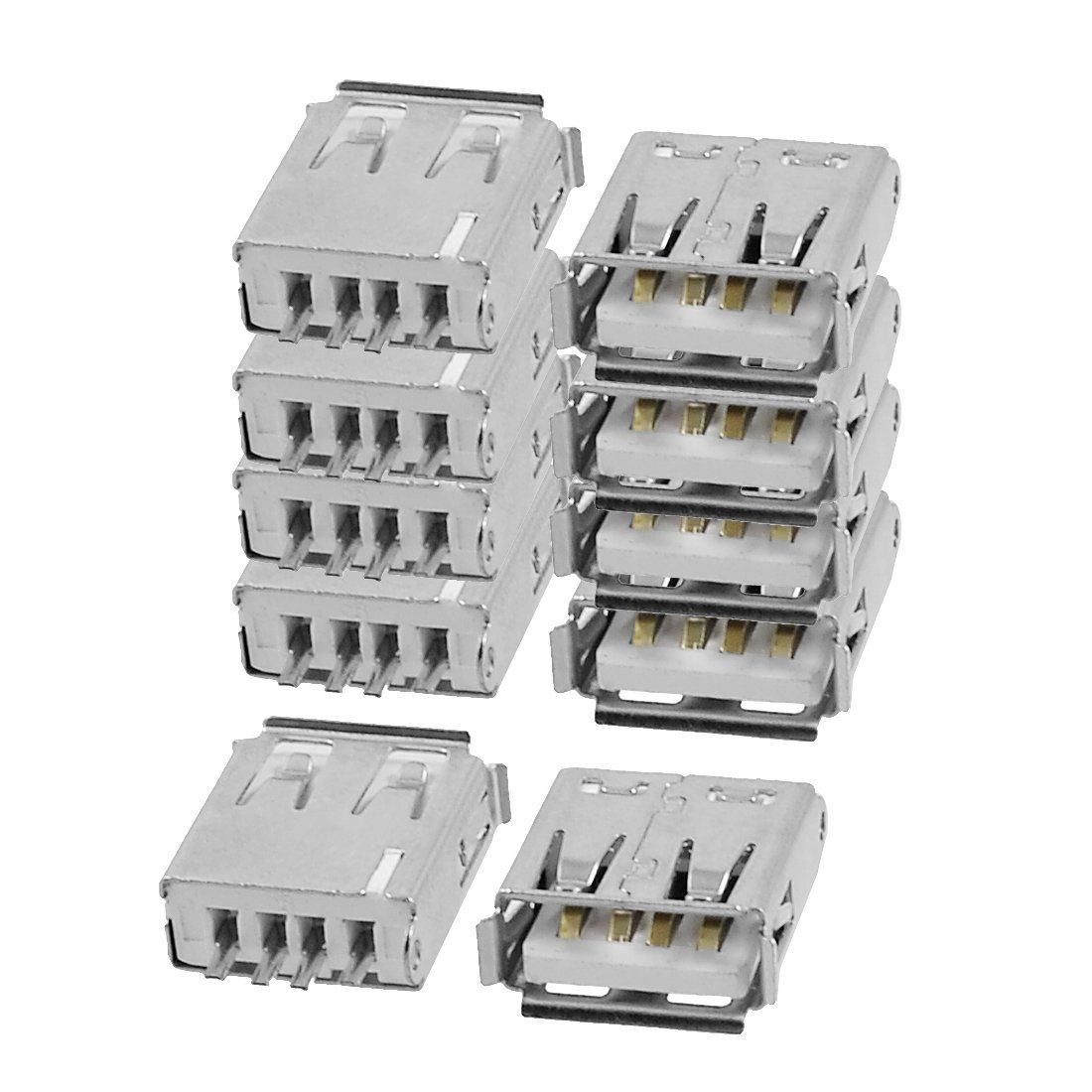 SuperWarehouse a12071400ux0008 Female Jack Connector Silver Tone Pack of 10 swh847921ca300121