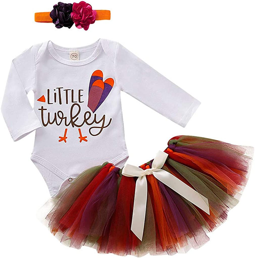 Newborn Baby Girls Thanksgiving Outfit Short Sleeve Turkey Romper+Skirt Set with Bow Headband Infant Clothes