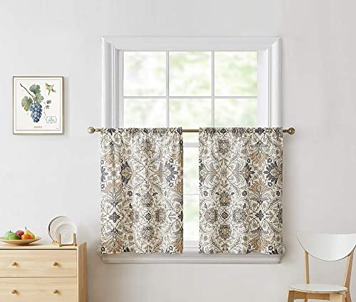 BOURINA Kitchen Curtain Tier and Valance Set Cotton Floral Printed Textured for Windows Cafe Curtains,Beige, 24 in. L