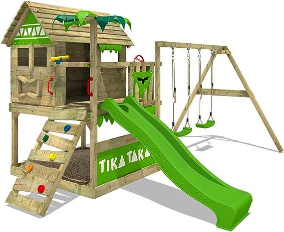FATMOOSE Parque infantil de madera TikaTaka Town XXL con columpio y tobogán, Casa de juegos de jardín con arenero y escalera para niños: Amazon.es: Hogar