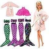 Barwa Mermaid Tail Dresses with Top Rainbow Sequins Handmade Swinsuit Swimwear with Plastic Mermaid Tail Pink Pajamas Clothes for Barbie Doll Birthday Gift(Mermaid 2)