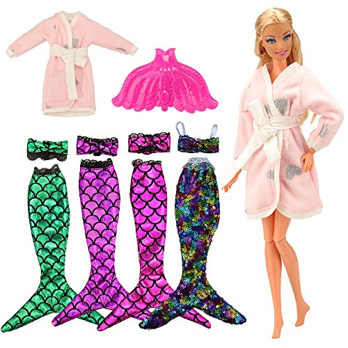 Barwa Mermaid Tail Dresses with Top Rainbow Sequins Handmade Swinsuit Swimwear with Plastic Mermaid Tail Pink Pajamas Clothes for Barbie Doll Birthday Gift(Mermaid 2)