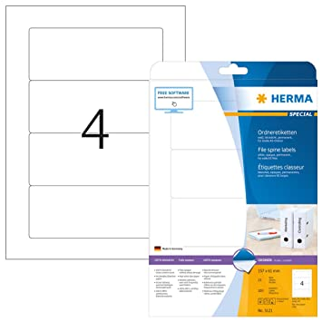 Herma 5121 - Lote de 100 etiquetas para archivadores (157 x 61 mm): Amazon.es: Oficina y papelería