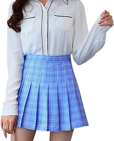 Kunfang Mujer Faldas Plisadas Vintage Plaid Falda Corta A-Line ...
