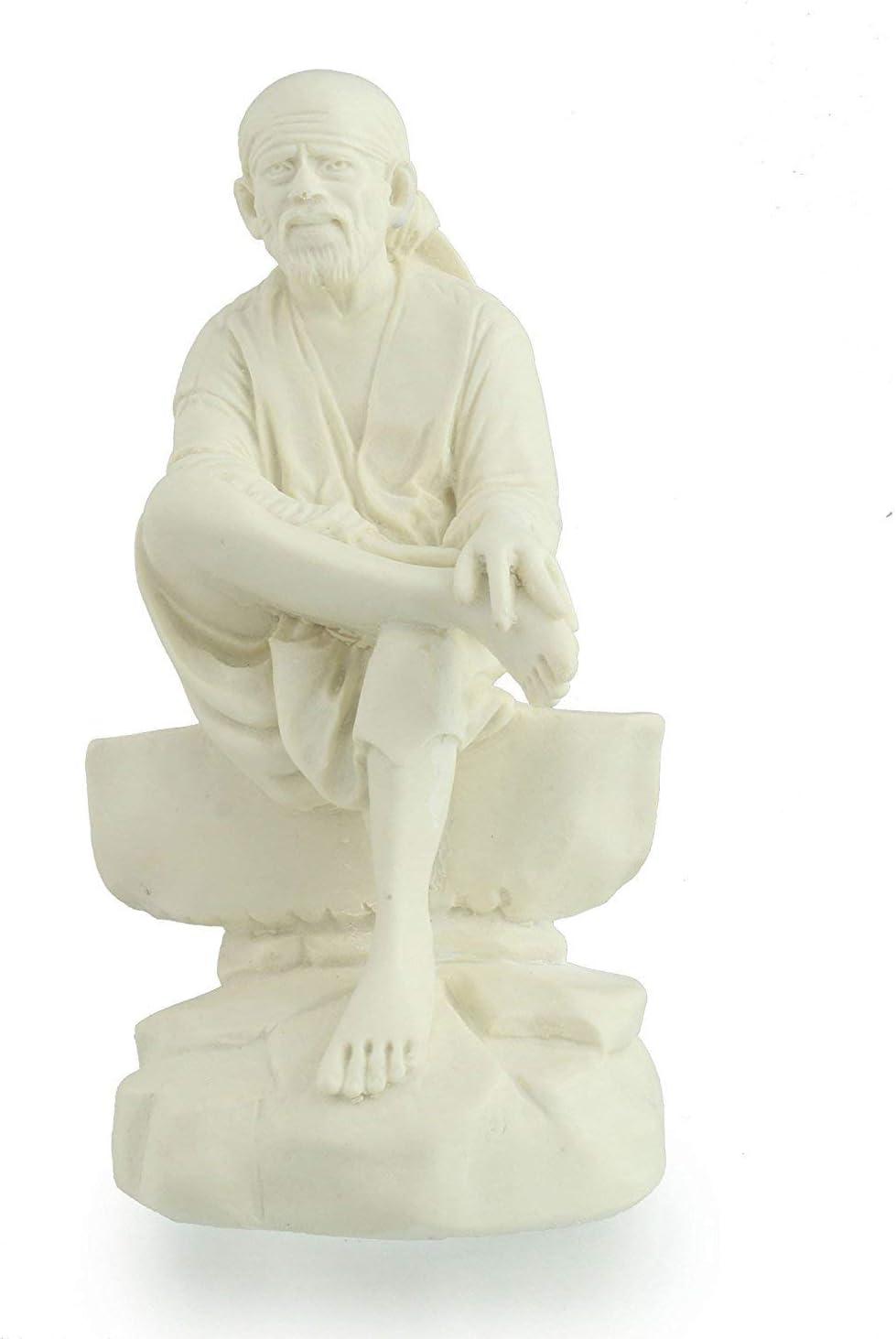 Sai Baba Idols for Car Dashboard | Saibaba Statue White for Home Decor