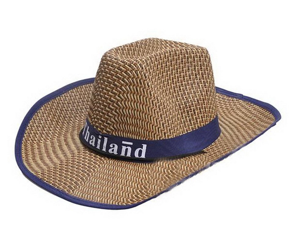 Retro Travel Straw Hat for Men Sun Hat for Fishing, Sunbathing, Navy PANDA SUPERSTORE