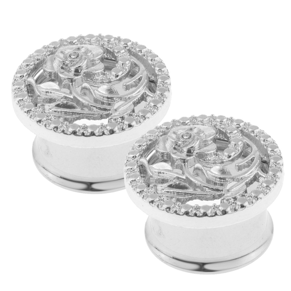 Baoblaze 2 Pcs Fancy Creative Hollowed Out Stainless Steel with Silver Rose Ear Plug Expander Stretcher