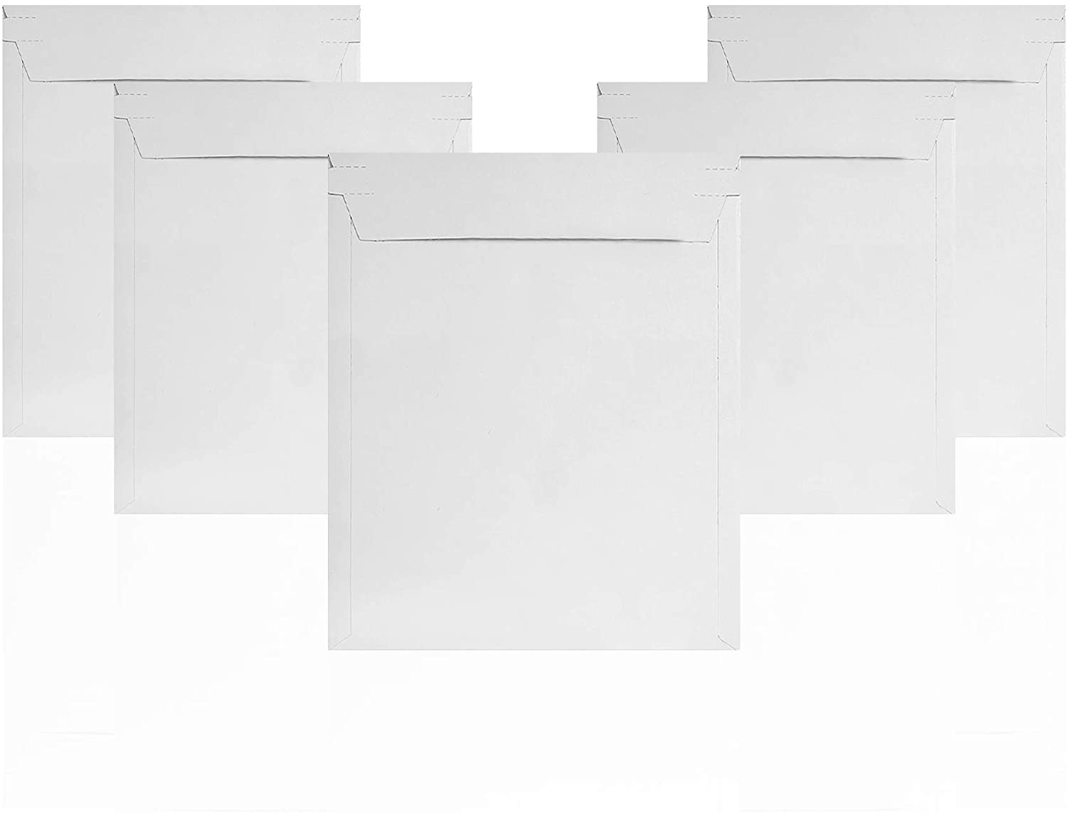 Rigid Mailers 12.75 x 15 Paperboard mailers 12 3/4 x 15. Pack of 10 white photo mailers. Stay Flat mailers. No bend, Self sealing. Document chipboard envelopes. Mailing, shipping.