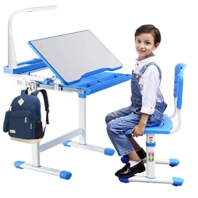 Buy BRIGHTSHOW Kids Desk Table and Chair Set Adjustable Height Childs Study Desks School Student Writing Tables W/Pull Out Drawer Storage,Pencil Case,Bookstand,LED Light (Blue) Online in Slovakia. B08JP34131