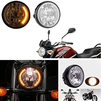 "7/"" H4 Halogen Universal Motorcycle Headlight Honda Suzuki Yamaha Kawasaki Harley"