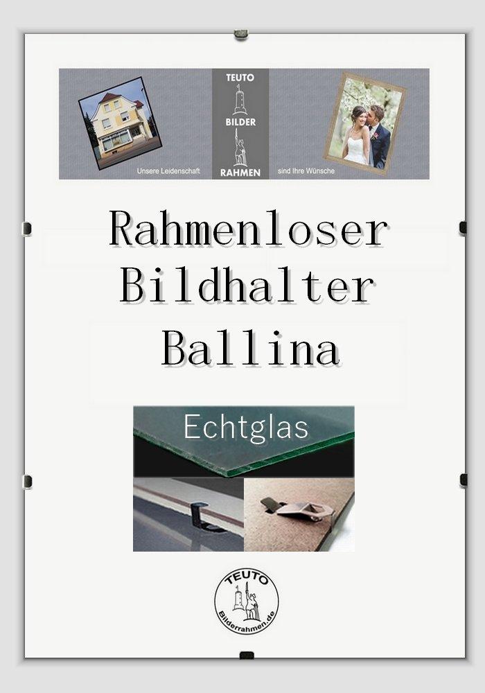 Teuto-Bilderrahmen Rahmenloser Echtglas Bildhalter Ballina 35 x 50 ...