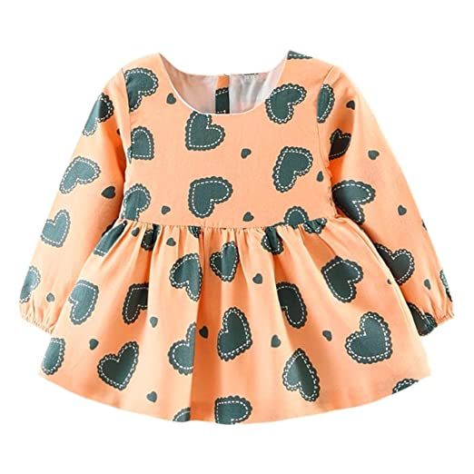 f8a6415eabf0 Image Unavailable. Image not available for. Color: Diamondo Cartoon Bear  Long Sleeve A-Line Dress Hearts Print Girls Baby Swing Clothes