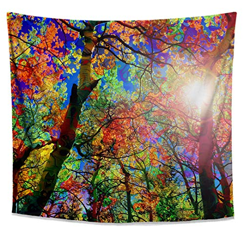 Leaves Wall Art Canopy - Lucid Eye Studios Colorful Canopy Tapestry- Forest Tapestry Wall Hanging- Nature Leaves Pattern- Psychedelic Sun Wall Art- Bright Dorm Decor- Bohemian Home Decoration
