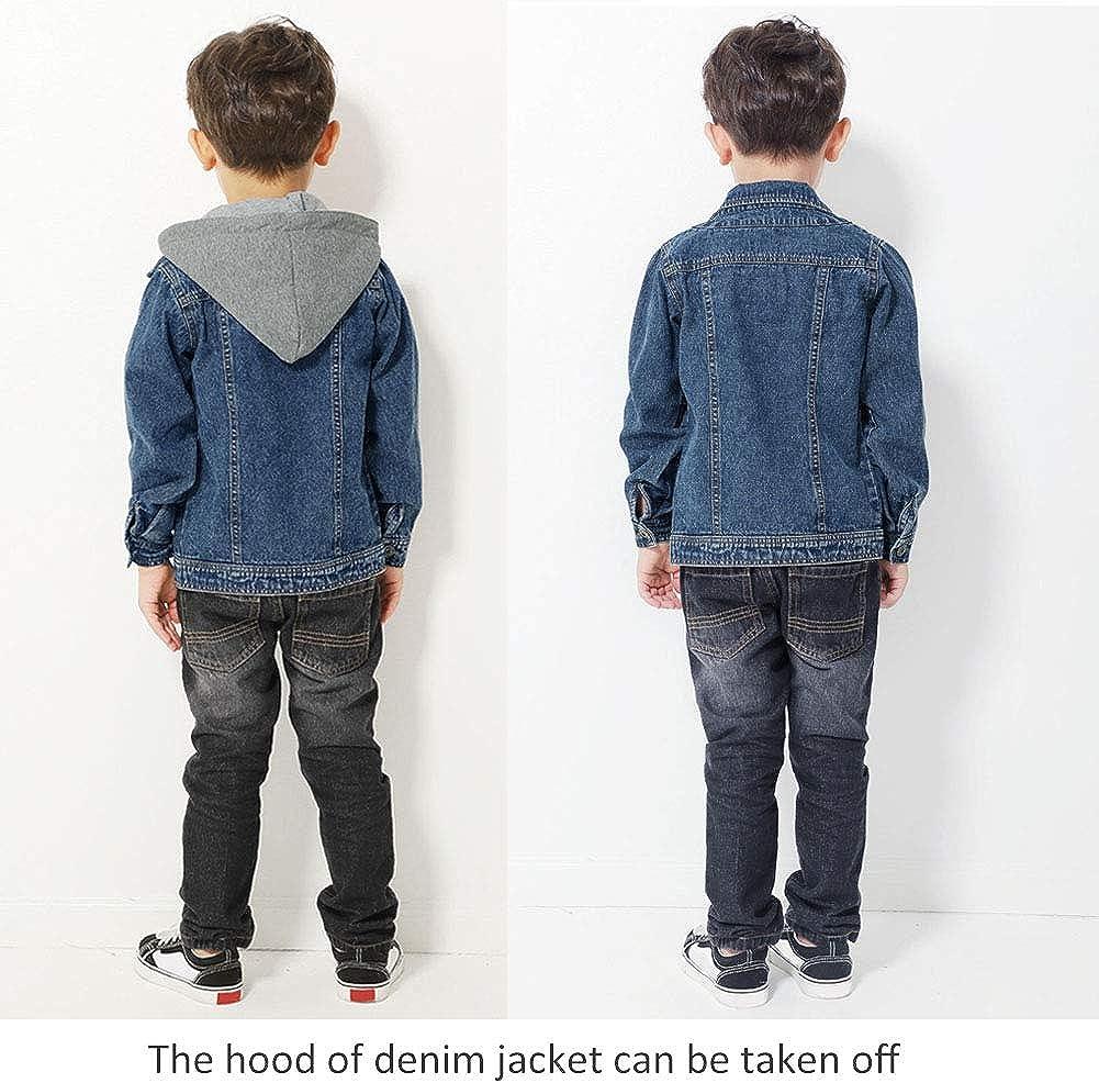 Giacca in Jeans per Bambini Cappotto con Cappuccio Giacca Blu Jean Fashion Turn Down Collar Capispalla di Base per Ragazze da 2 a 10 Anni