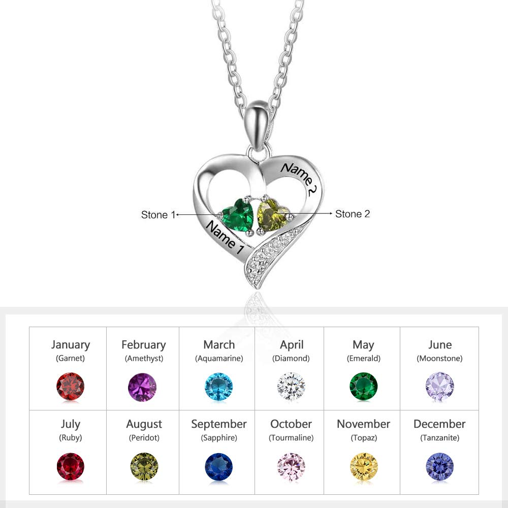 Love Jewelry Personalized 2 Names Sterling Silver Necklace with 2 Heart Simulated Birthstone Couple Pendant Necklace for Women