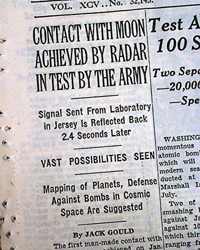 Army Radar (1ST EVER MOON CONTACT Celestial Body U.S. Army Radar Belmar NJ 1946 Newspaper THE NEW YORK TIMES, January 25, 1946)