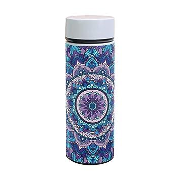 Botella de agua térmica de acero inoxidable con diseño de mandala bohemio, 350 ml: Amazon.es: Hogar