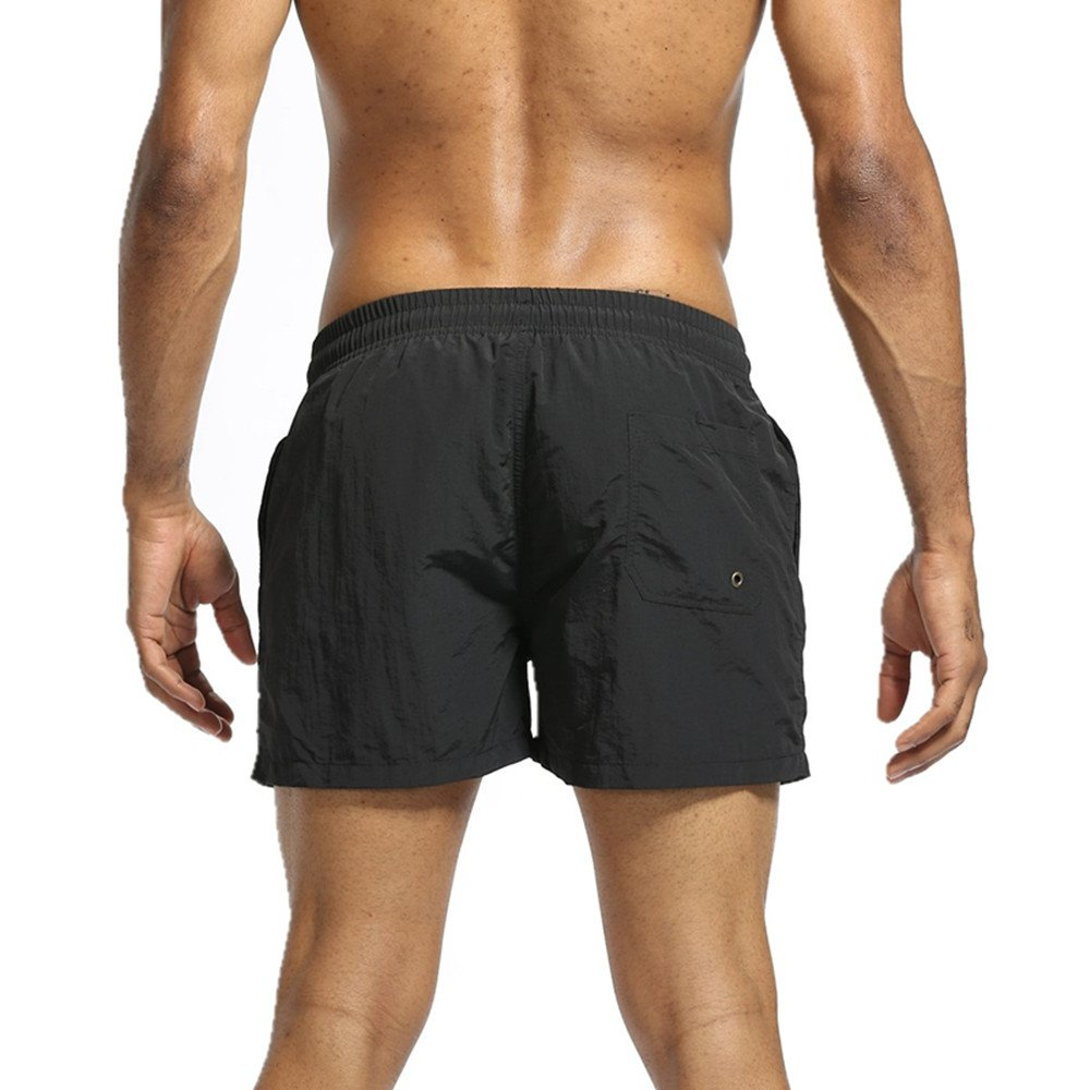 Mens Swim Trunks Quickly Dry Swim Shorts Mens Board Shorts With Pockets For Swimming Beach Pool (Black, US L Asia Tag XXL -Waist:32\