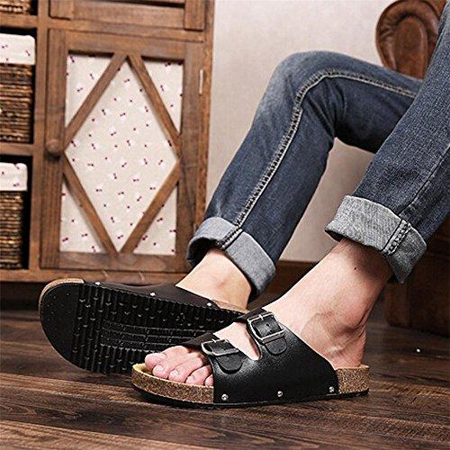 Pantofole Bottoni Longra Nero Due Sottili in wYBxwdfq
